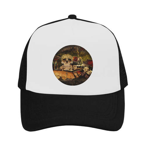 Steampunk Alchemist Mage Roses Celtic Skull Trucker Hat