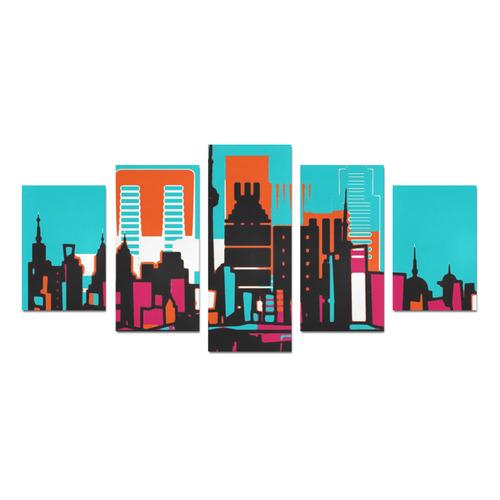 architecture skyline teal black orange Canvas Print Sets D (No Frame)
