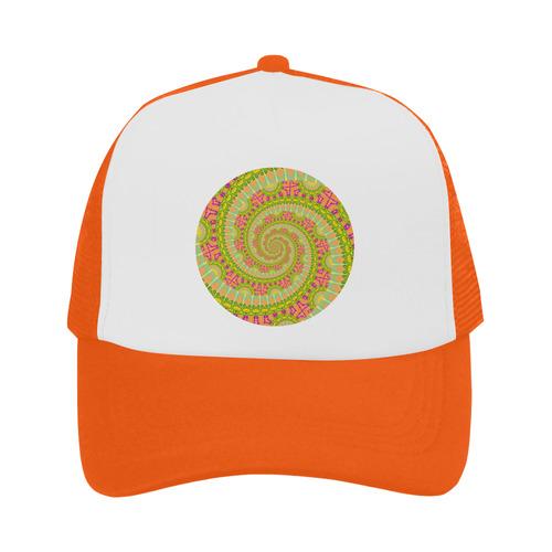 FLOWER POWER SPIRAL SUNNY orange green yellow Trucker Hat