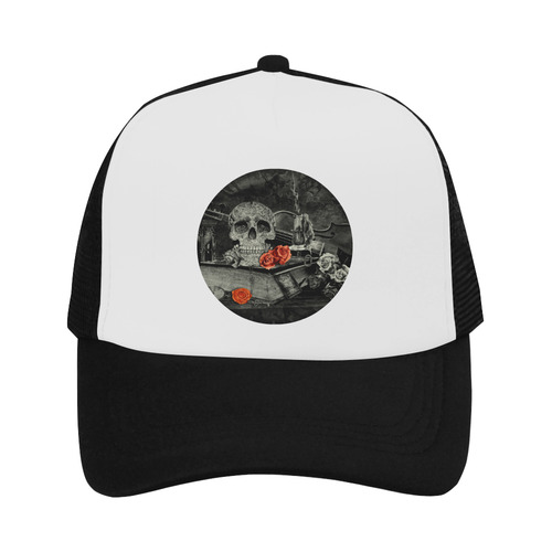 Steampunk Alchemist Mage Red Roses Celtic Skull Trucker Hat