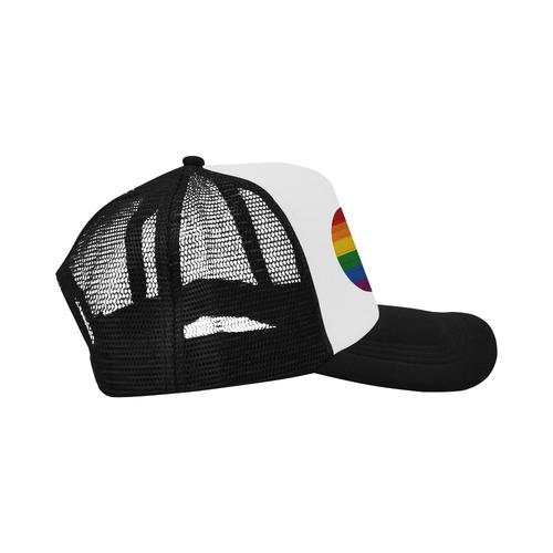Rainbow Flag Colored Stripes Wood Trucker Hat