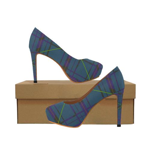 Style 80's Heelsmodel Plaid 044 High Neon Design Women's UMVSpGLqz