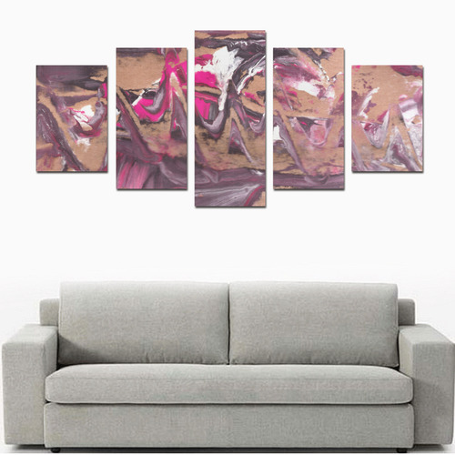 Abstract Acryl Painting plum brown pink Canvas Print Sets D (No Frame)