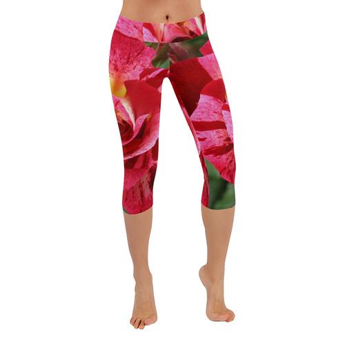 ddeae7a61f8d9 Pink Rose Flower Blossom Low Rise Capri Leggings (Invisible Stitch) (Model  L08) | ID: D1875158