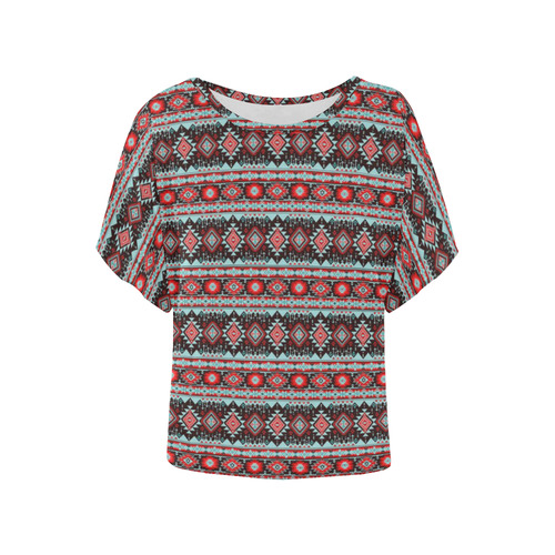 fancy tribal border pattern 17F by JamColors Women's Batwing-Sleeved Blouse T shirt (Model T44)