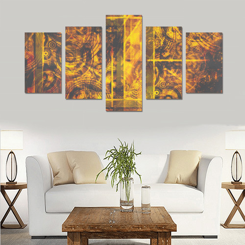 Black and Gold Grunge Abstract Canvas Print Sets C (No Frame)