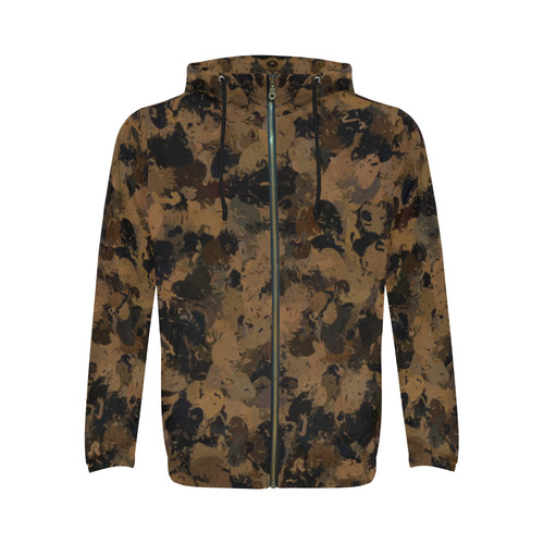 Black and Bronze Cells 3132 All Over Print Full Zip Hoodie for Men (Model H14)