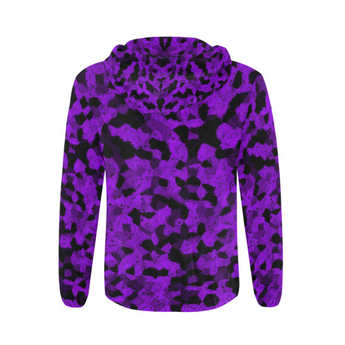 Black and Purple Chalk All Over Print Full Zip Hoodie for Men (Model H14)
