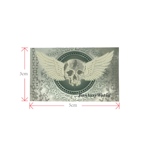 Skull with wings and roses on vintage background Private Brand Tag on Bags Inner (Zipper) (5cm X 3cm)