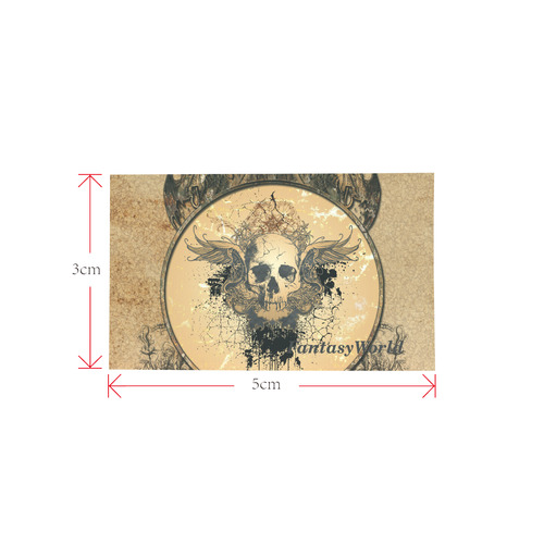 Awesome skull with wings and grunge Private Brand Tag on Bags Inner (Zipper) (5cm X 3cm)