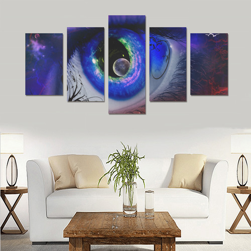 Eye Moon Fantasy Landscape Canvas Print Sets C (No Frame)