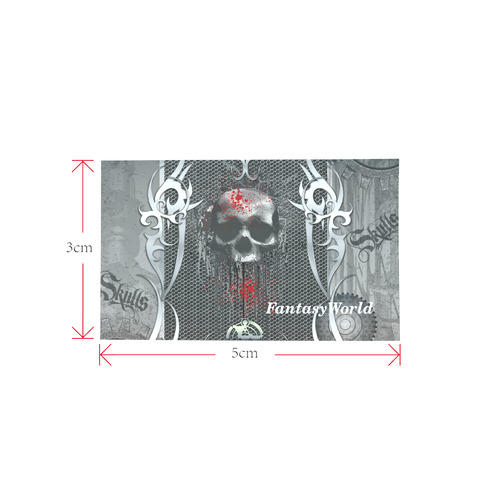 Awesome skull on metal design Private Brand Tag on Bags Inner (Zipper) (5cm X 3cm)
