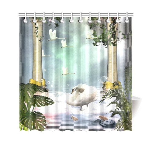 Beautiful Swan Shower Curtain 69x70
