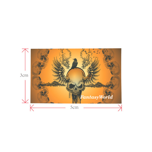 Amazing skull with crow Private Brand Tag on Bags Inner (Zipper) (5cm X 3cm)