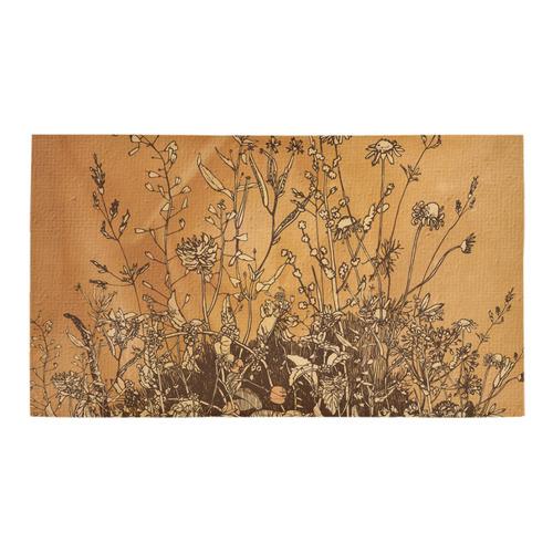 Brown flowers, vintage Bath Rug 16''x 28''