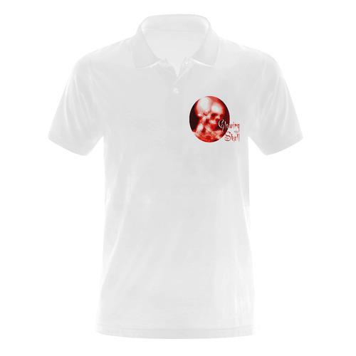 glowing skull polo shirt Men's Polo Shirt (Model T24)