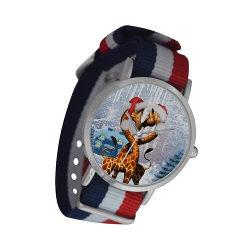 Christmas, funny giraffe Nylon Strap Watch (Model 215)