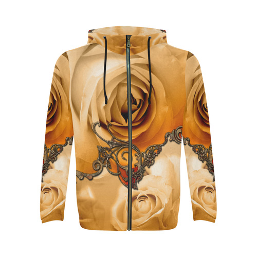 Vintage design, roses All Over Print Full Zip Hoodie for Men (Model H14)