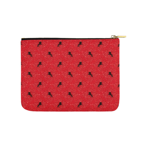 unicorn pattern red by JamColors Carry-All Pouch 8''x 6''