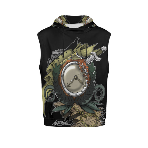 End Of Time All Over Print Sleeveless Hoodie for Women (Model H15)
