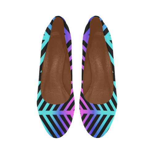 Rainbow Multicolored Ethnic Abstract Design 2 on Black Women's High Heels (Model 044)