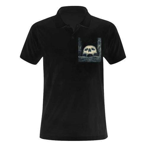 White Human Skull In A Pagan Shrine Halloween Cool Men's Polo Shirt (Model T24)