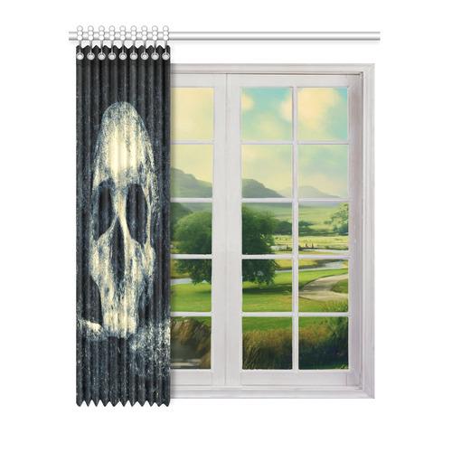 "Man Skull In A Savage Temple Halloween Horror Window Curtain 52"" x 63""(One Piece)"