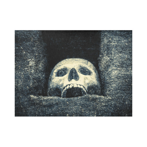 White Human Skull In A Pagan Shrine Halloween Cool Placemat 14'' x 19''