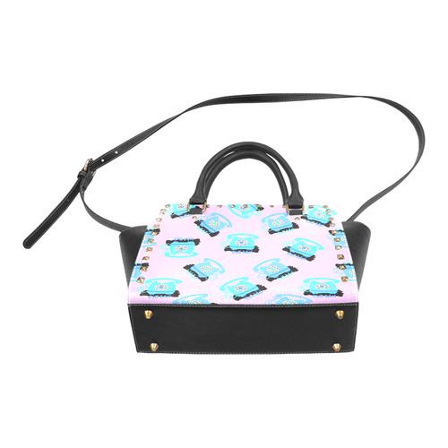 pink telephone Rivet Shoulder Handbag (Model 1645)