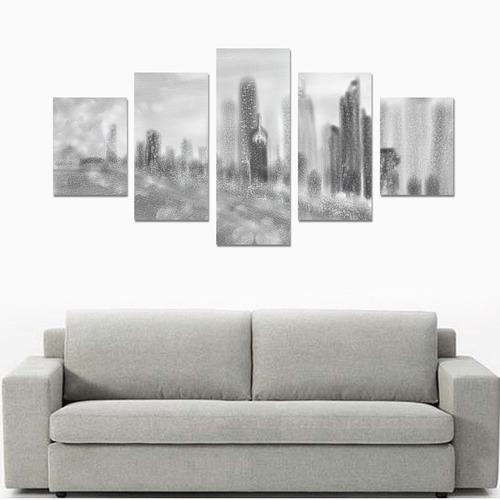 chicago skyline 2-s-noir blanc Canvas Print Sets B (No Frame)