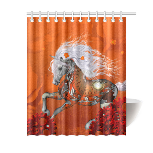 Wonderful Steampunk Horse Red White Shower Curtain