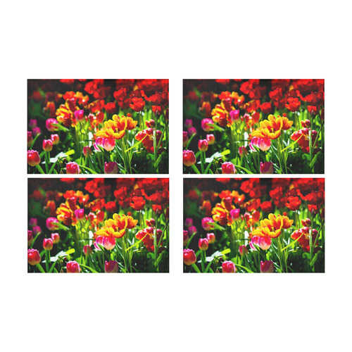 Colorful tulip flowers chic spring floral beauty Placemat 12'' x 18'' (Four Pieces)
