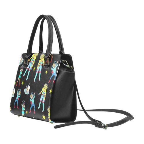 Alien Attack Rivet Shoulder Handbag (Model 1645)