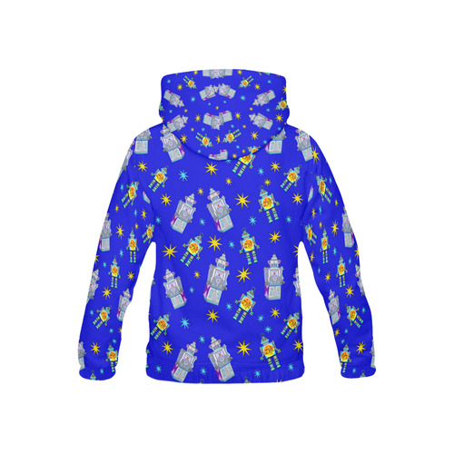blue robots All Over Print Hoodie for Kid (USA Size) (Model H13)