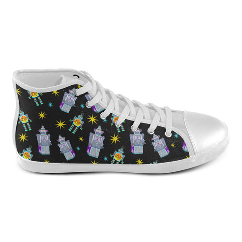 Too Many Robots High Top Canvas Kid's Shoes (Model 002)