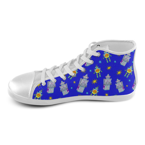 blue robots High Top Canvas Kid's Shoes (Model 002)