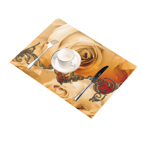 Vintage design, roses Placemat 14'' x 19'' (Four Pieces)