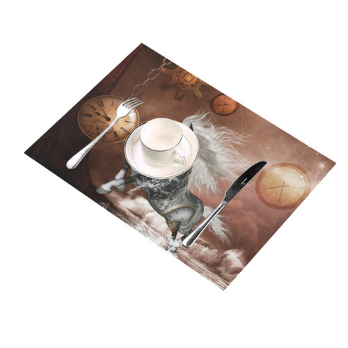 Amazing steampunk horse, silver Placemat 14'' x 19'' (Four Pieces)