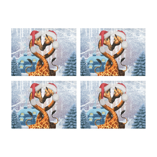Christmas, funny giraffe Placemat 14'' x 19'' (Four Pieces)