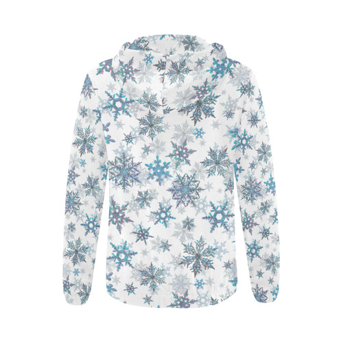 Snowflakes, Blue snow, Christmas All Over Print Full Zip Hoodie for Women (Model H14)