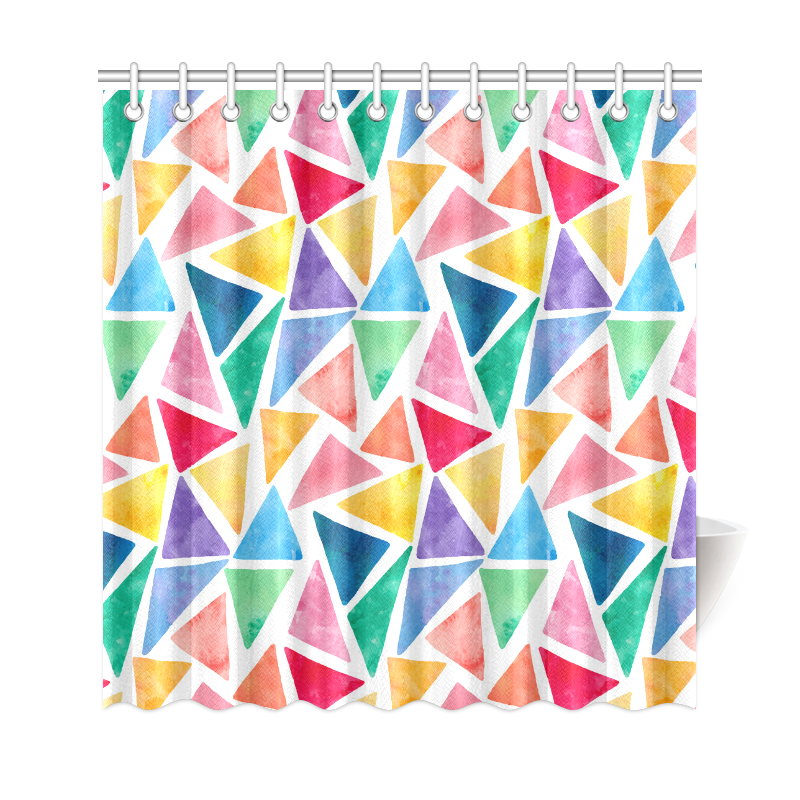 Colorful Watercolor Triangles Geometric Pattern Shower Curtain 69