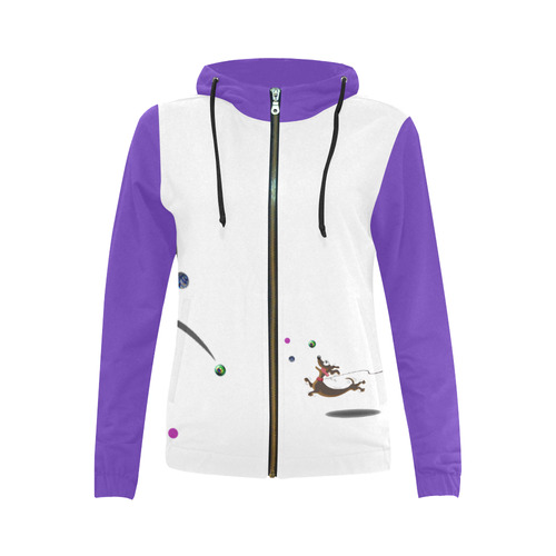 Lost Marbles Club All Over Print Full Zip Hoodie for Women (Model H14)