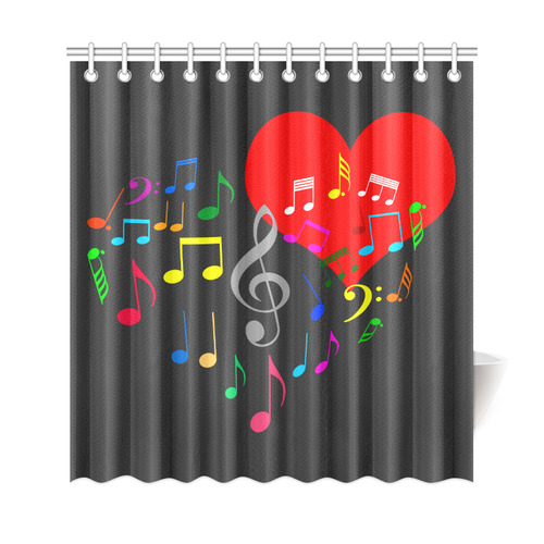 Singing Heart Red Song Color Music Love Romantic Shower Curtain 69x72