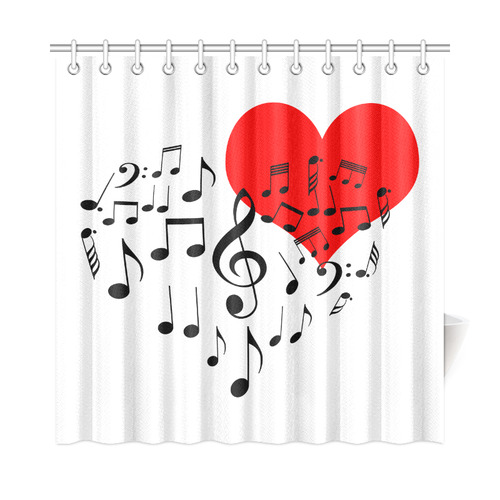 Singing Heart Red Song Black Music Love Romantic Shower Curtain 72x72