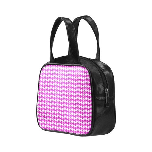 Friendly Houndstooth Pattern,pink by FeelGood Leather Top Handle Handbag (Model 1662)