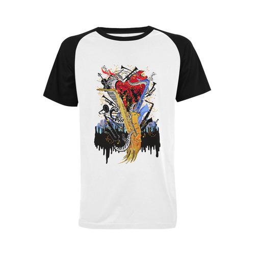 Mens Saxophone Shirt Men's Raglan T-shirt Big Size (USA Size) (Model T11)
