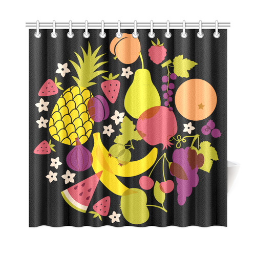 Healthy Fresh Fruits Pineapple Watermelon Grapes Shower Curtain 72x72