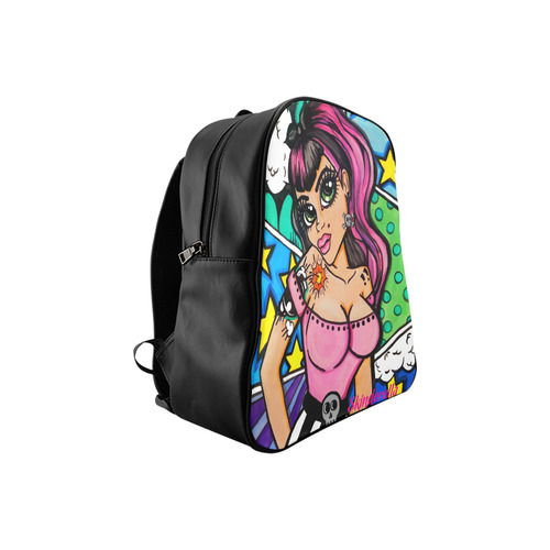 Comic Book Tattooed Pinup Girl by Skinderella School Backpack (Model 1601)(Small)