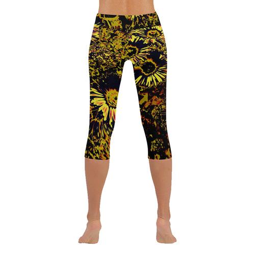 Amazing neon flowers B by JamColors New Low Rise Capri Leggings (Flatlock Stitch) (Model L09)
