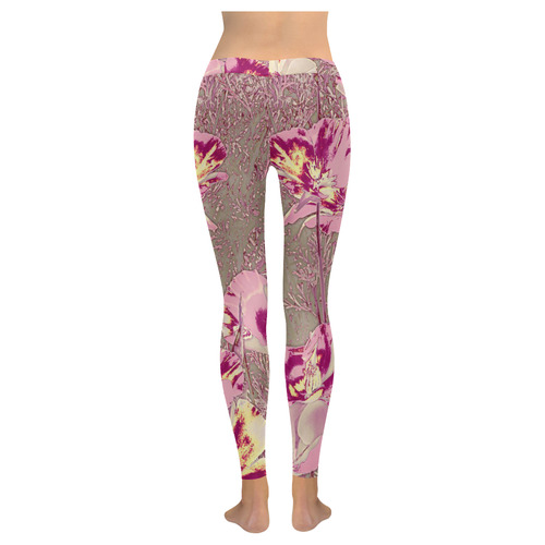 Amazing glowing flowers 2B by JamColors New Low Rise Leggings (Flatlock Stitch) (Model L07)